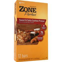 ZONE PERFECT Sweet & Salty Bar Cashew Pretzel 12 bars
