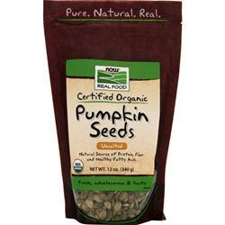 NOW Certified Organic Pumpkin Seeds - Unsalted Unsalted 12 oz