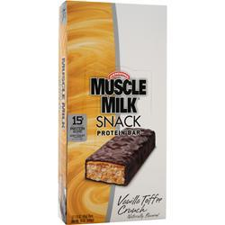 CYTOSPORT Muscle Milk Snack Protein Bar Vanilla Toffee Crunch 12 bars