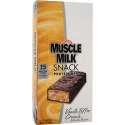Cytosport Muscle Milk Snack Protein Bar Vanilla Toffee Crunch BEST BY 3/16/17 12 bars