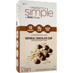 ZONE PERFECT Perfectly Simple Bar Oatmeal Chocolate Chip 12 bars