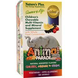 NATURE'S PLUS Animal Parade Children's Chewable Multi-Vitamin Assorted Flavors 180 tabs