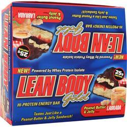 LABRADA Lean Body Bar Gold Peanut Butter & Jelly 12 bars