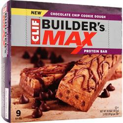 CLIF BAR Builder's Maxx Bar Choc. Chip Cookie Dough 9 bars