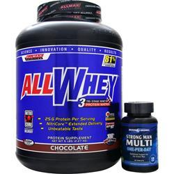 ALLMAX NUTRITION AllWhey + Free Strong Man Multi - One-Per-Day Chocolate 5 lbs