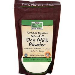 Now Certified Organic Non-Fat Dry Milk Powder 12 oz