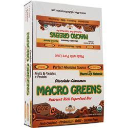 MACROLIFE NATURALS Macro Greens Food Bar Chocolate Cinnamon 12 bar