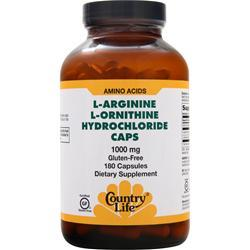 COUNTRY LIFE L-Arginine L-Ornithine Hydrochloride 180 caps