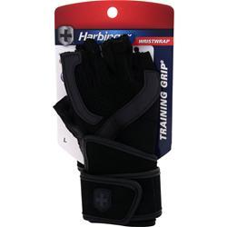 HARBINGER WristWrap Training Grip Glove Black/Grey (Medium) 2 glove