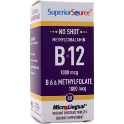 Superior Source No Shot Methylcobalamin B-12 (1,000mcg) B-6 & Methylfolate 60 tabs