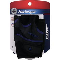 HARBINGER Men's FlexFit AntiMicrobial Wash and Dry Black/Blue (M) 2 glove