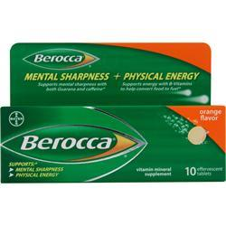 BAYER HEALTHCARE Berocca Vitamin Mineral Supplement Orange 10 tabs
