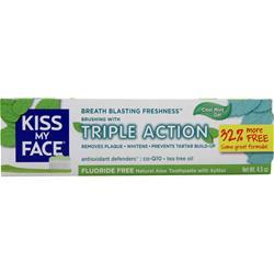 Kiss My Face Aloe Vera Triple Action Toothpaste Cool Mint 4.5 oz