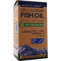 Wiley's Finest Wild Alaskan Fish Oil - Easy to Swallow Minis 180 sgels