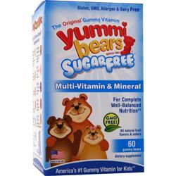 YUMMI BEARS Multi-Vitamin & Mineral  - Sugar Free Natural Fruit Flavors 60 gummy