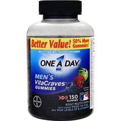 BAYER HEALTHCARE ONE A DAY Men's VitaCraves Gummies Berry,Cherry, Green Apple 150 gummy