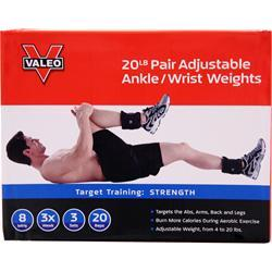 Valeo Adjustable Ankle/Wrist Weights 10lb Each (20lb Pair) 2 unit