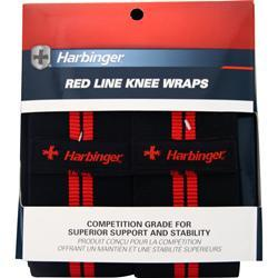 Harbinger Red Line Knee Wraps Black with Red Trim 2 wraps