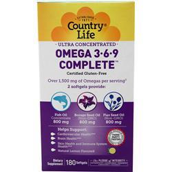Country Life Ultra Concentrated Omega 3-6-9 180 sgels