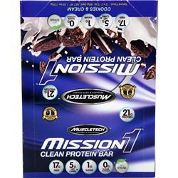 Muscletech Mission1 Clean Protein Bar Cookies & Cream 12 bars