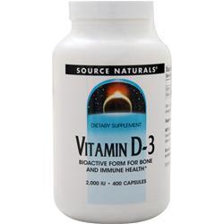 Source Naturals Vitamin D-3 (2000IU) 400 caps