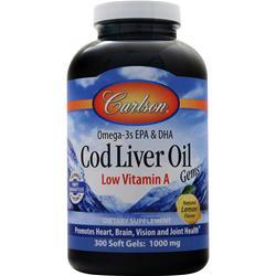 Carlson Cod Liver Oil Gems - Low Vitamin A (1000mg) Lemon 300 sgels