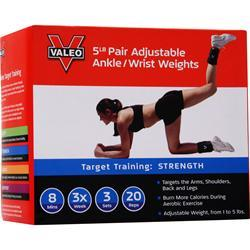 Valeo Adjustable Ankle/Wrist Weights 2.5lb Each (5lb Pair) 2 unit