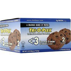 Chef Jay's Tri-O-Plex < 3 Cookies Oatmeal Raisin 12 pck