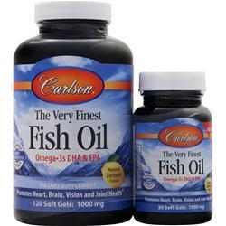 Carlson The Very Finest Fish Oil (1000mg) Lemon 120+30 Shrink Wrap 150 sgels