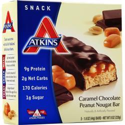 Atkins Advantage Caramel Bar Chocolate Peanut Nougat 5 bars