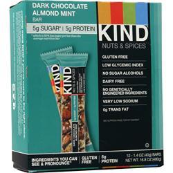 Kind Nuts and Spices Bar Dark Chocolate Almond Mint 12 bars