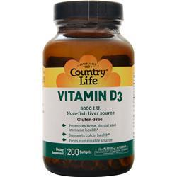 Country Life Vitamin D3 (5000IU) 200 sgels