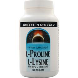 Source Naturals L-Proline L-Lysine (275mg/275mg) 120 tabs