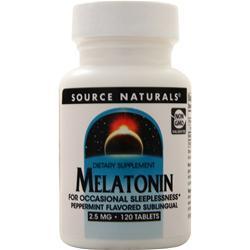 Source Naturals Melatonin  - Sublingual (2.5mg) Peppermint 120 tabs