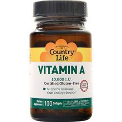 Country Life Natural Vitamin A (10000IU) 100 sgels
