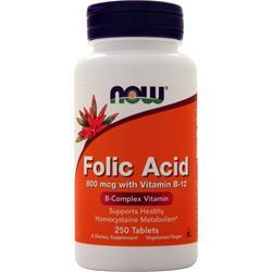 Now Folic Acid with Vitamin B-12 (800mcg) 250 tabs