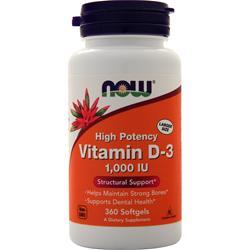 Now Vitamin D-3 (1000IU) 360 sgels