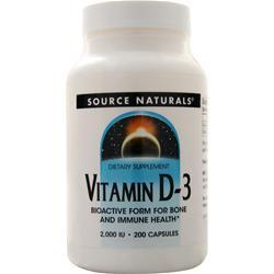 Source Naturals Vitamin D-3 (2000IU) 200 caps