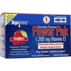 Trace Minerals Research Electrolyte Stamina Power Pak Raspberry 32 pckts