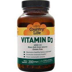 Country Life Vitamin D3 (1000IU) 200 sgels