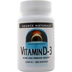 Source Naturals Vitamin D-3 (5000IU) 200 sgels