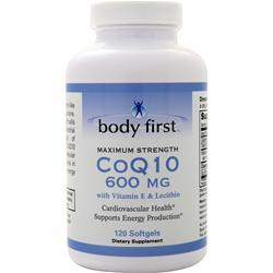 Body First CoQ10 (600mg) with Vitamin E and Lecithin - Maximum Strength 120 sgels