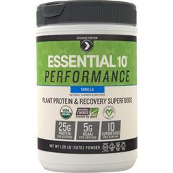 Designer Protein Essential 10 Performance - Plant Protein & Recovery Superfoods Vanilla 1.29 lbs