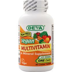 Deva Nutrition Vegan Multivitamin & Mineral Supplement - Iron Free 90 tabs