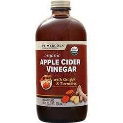 Dr. Mercola Organic Apple Cider Vinegar Spicy with Ginger & Turme 16 fl.oz