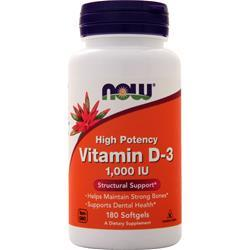 Now Vitamin D-3 (1000IU) 180 sgels