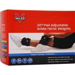 VALEO Adjustable Ankle/Wrist Weights 10 Pounds Each(20lb Pair) 2 unit