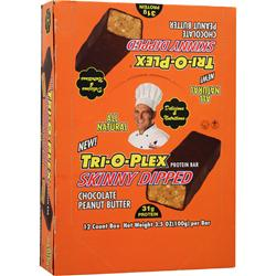 CHEF JAY'S Tri-O-Plex Skinny Dipped Bar Chocolate Peanut Butter 12 bars