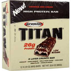 Premier Nutrition Titan Bar Cookies and Cream 12 bars