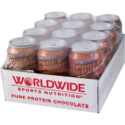 WORLDWIDE SPORTS Ultra Pure Protein Shake (11 fl.oz.) Frosty Chocolate 12 cans